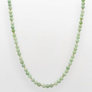 14k Gold Jade Bead Necklace