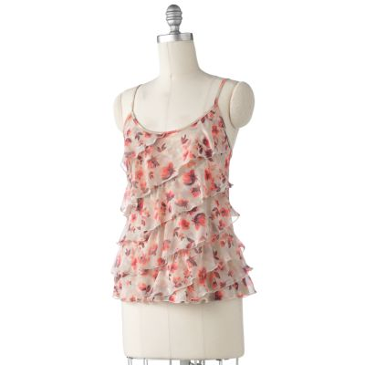 LC Lauren Conrad Floral Asymmetrical Ruffle Camisole