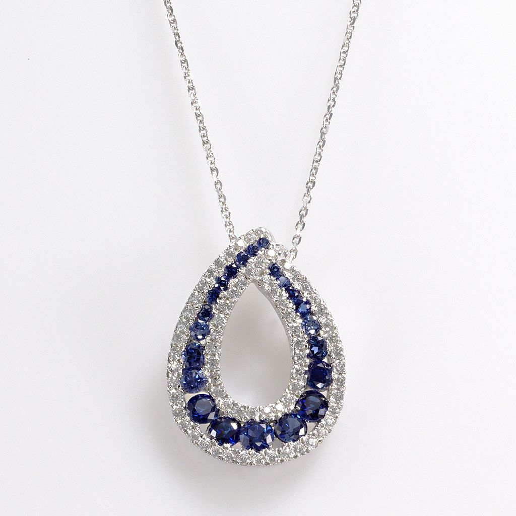Sterling Silver Lab-Created Sapphire & Cubic Zirconia Teardrop Pendant