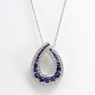 Sterling Silver Lab-Created Sapphire and Cubic Zirconia Teardrop Pendant