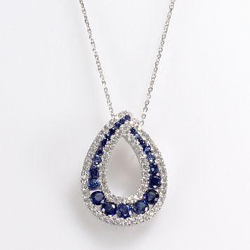 Sterling Silver Lab-Created Sapphire & Cubic Zirconia Teardrop Pendant