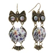 Mudd Gold Tone Flower Bead Owl Drop Earrings