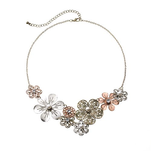 SO® Four Tone Simulated Crystal & Simulated Pearl Filigree Flower Bib Statement Necklace