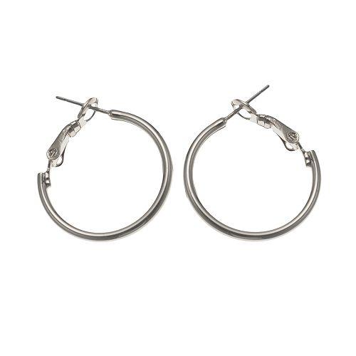Silver Tone Omega Hoop Earrings