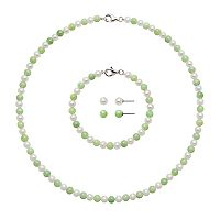 Sterling Silver Freshwater Cultured Pearl & Jade Necklace, Bracelet & Stud Earring Set