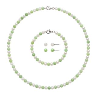 Sterling Silver Freshwater Cultured Pearl and Jade Necklace, Bracelet and Stud Earring Set