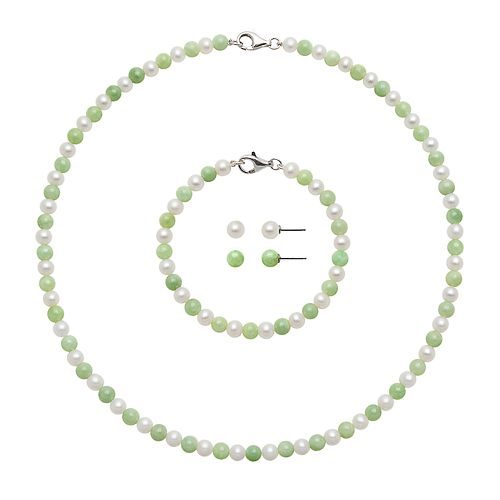 Sterling Silver Freshwater Cultured Pearl & Jade Necklace, Bracelet & Stud Earring Set