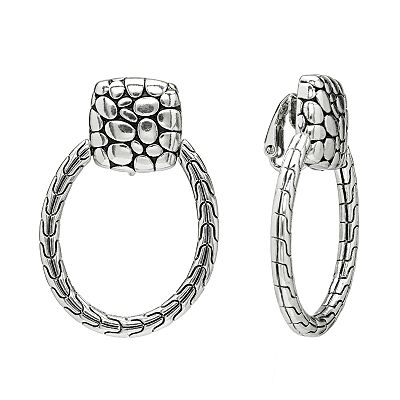 Napier Silver Tone Hoop Drop Clip-On Earrings