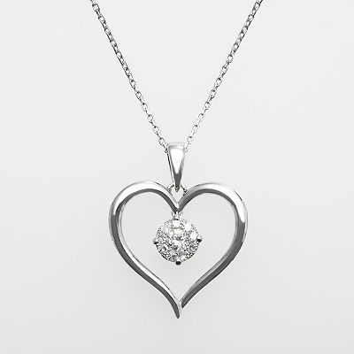 14k White Gold 1/5-ct. T.W. Diamond Cluster Heart Pendant