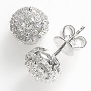 14k White Gold 1/2-ct. T.W. Diamond Frame Stud Earrings