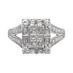 Diamond Frame Engagement Ring in 10k White Gold (1 ctT.W.)