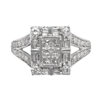 Diamond Frame Engagement Ring in 10k White Gold (1 ct. T.W.)