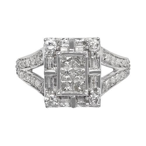 Diamond Frame Engagement Ring in 10k White Gold (1 ct. T.W.)