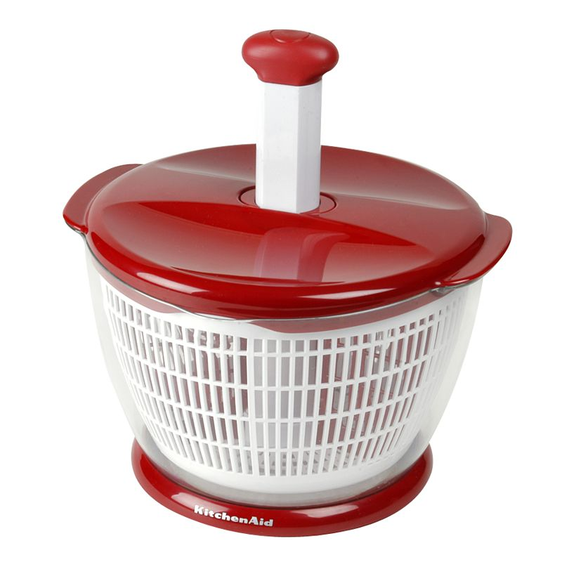 KitchenAid Salad Spinner, Red A spin in the right direction. This salad spinner is ideal for multiple kitchen tasks. Featuring removable, divided compartments that allow you to dry different foods simultaneously, saving you time. And a soft-grip pump, so you can spin away excess moisture easily. With a nonslip base for better stability. Plus, you can convert it into a serving bowl for even greater convenience! Dishwasher safe Manufacturer's 1-year hassle-free replacement warrantyFor warranty information please click here Manufacturer's lifetime limitedwarrantyFor warranty information please click here Model no. KG308ERK Size: One Size. Color: Red. Gender: Unisex. Age Group: Adult. Material: Plastic.