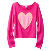 SO Neon Heart Crop Sweater - Girls 7-16