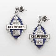 New York Giants Super Bowl XLVI Champions Sterling Silver Football Drop Earrings