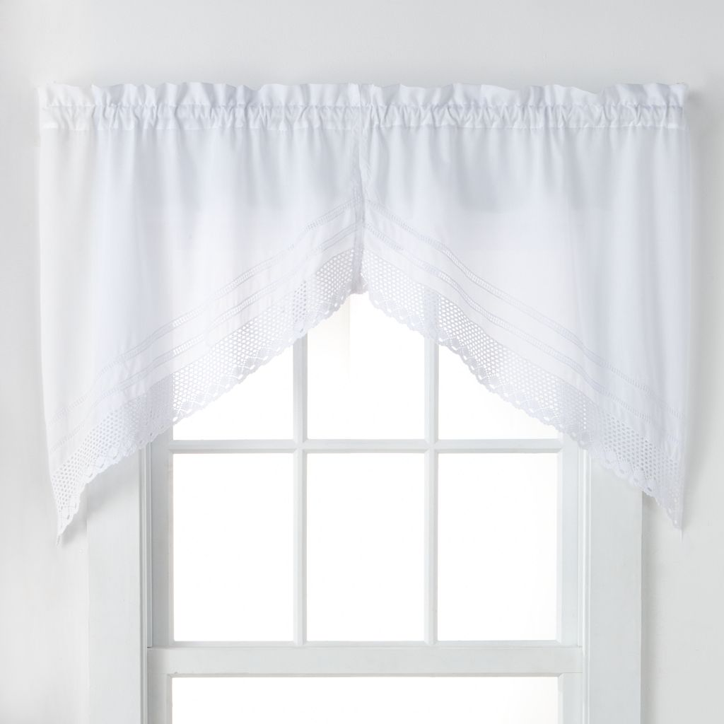 CHF Crochet Swag Tier Kitchen Window Curtain Set