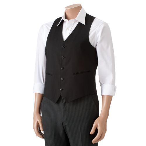 Adolfo Classic-Fit Solid Black Suit Vest