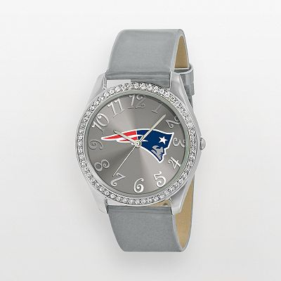 Game Time Glitz New England Patriots Silver Tone Crystal Watch - NFL-GLI-NE - Women