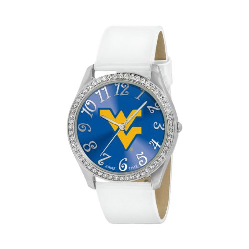 Game Time Glitz West Virginia Mountaineers Silver Tone Crystal Watch - COL-GLI-WVU - Women