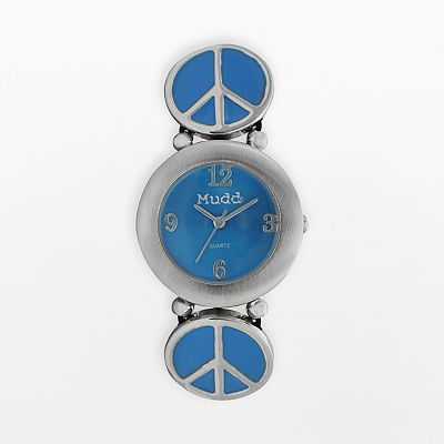 Mudd Silver Tone Peace Sign Watch - Juniors