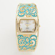 Geneva Gold Tone Scroll Bangle Watch -Women