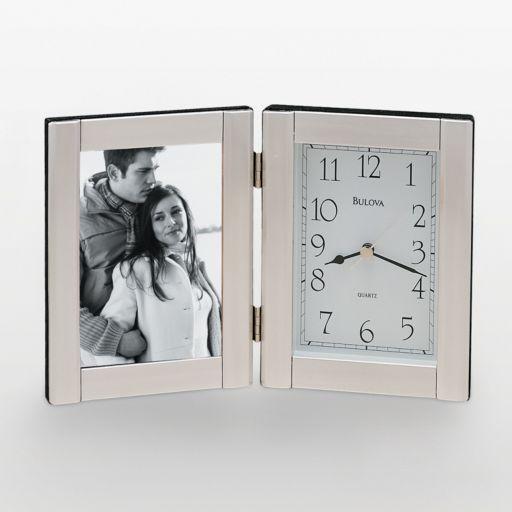 Bulova Forte II Brushed Aluminum Picture Frame Table Clock - B1275