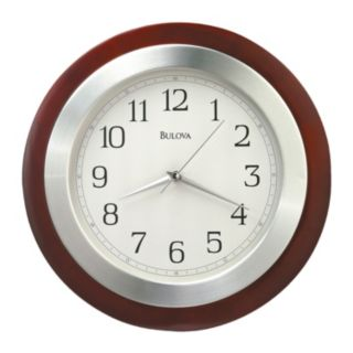 Bulova Reedham Wood and Aluminum Wall Clock - C4228
