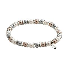 Silver Tone Simulated Pearl Stretch Bracelet