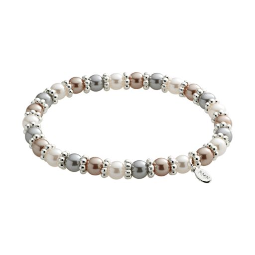 Silver Tone Simulated Pearl Stretch Bracelet