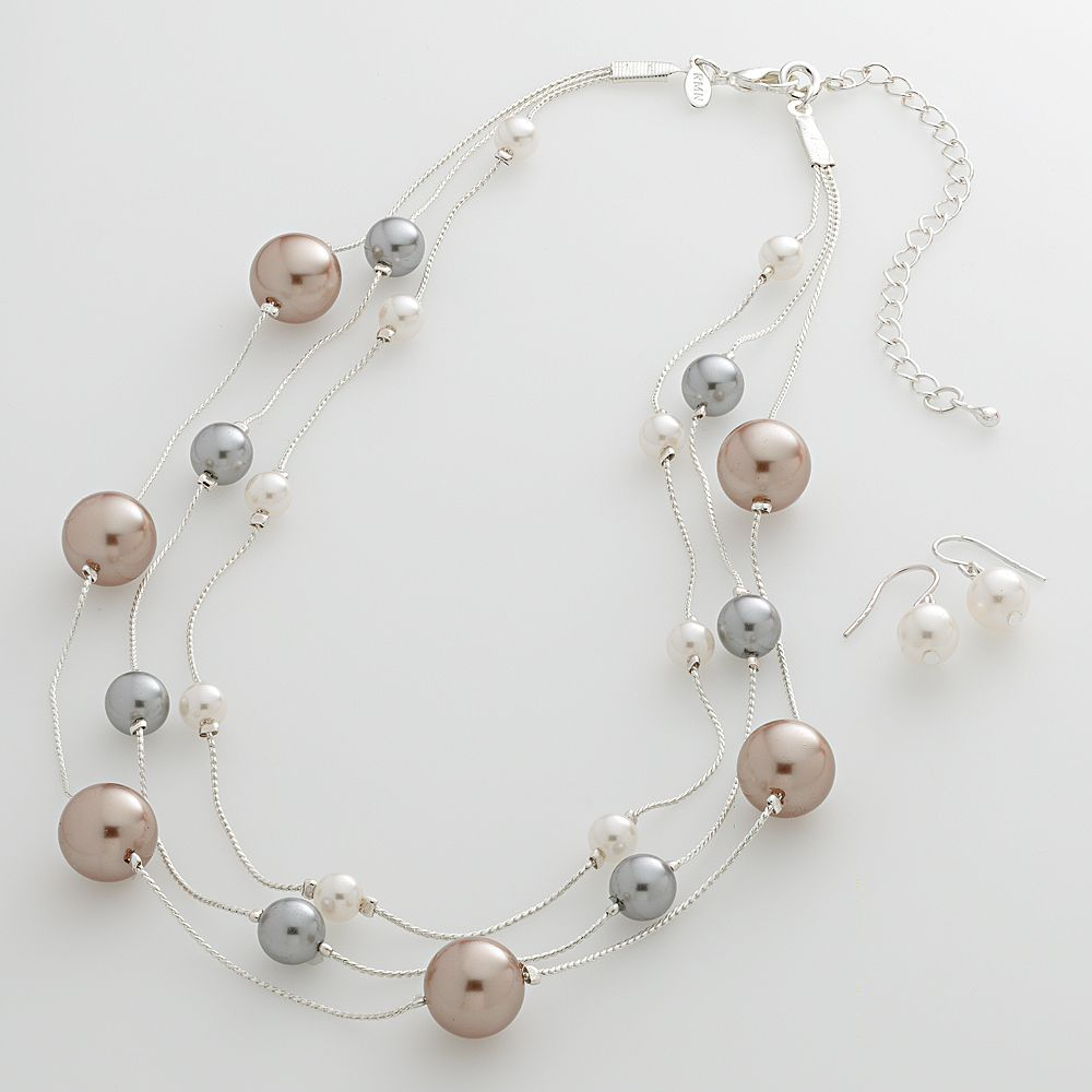 Silver Tone Simulated Pearl Multistrand Necklace & Drop Earring Set