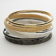 Apt. 9 Tri-Tone Chain-Wrapped Bangle Bracelet Set