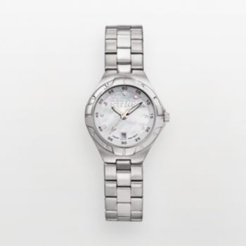 Dallas Stars Stainless Steel Cubic Zirconia and Mother-of-Pearl Watch STA118 Women