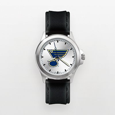 St. Louis Blues Silver Tone Leather Watch - BLE137 - Men