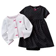 Carter's Dotted Bodysuit Dress and Cardigan Set - Baby