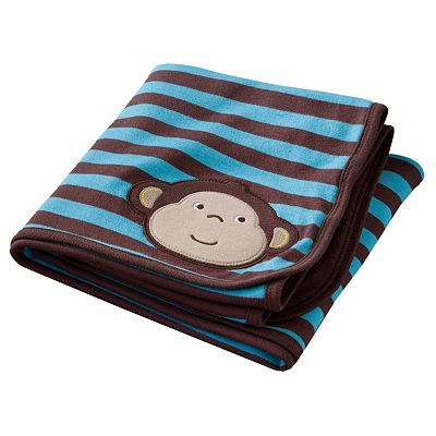 Carter's Monkey Striped Blanket