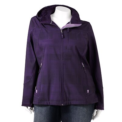 Free Country Plaid Hooded Water-Resistant Soft Shell Jacket - Women's Plus