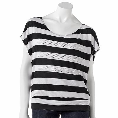 Candie's Striped Button Back Top - Juniors