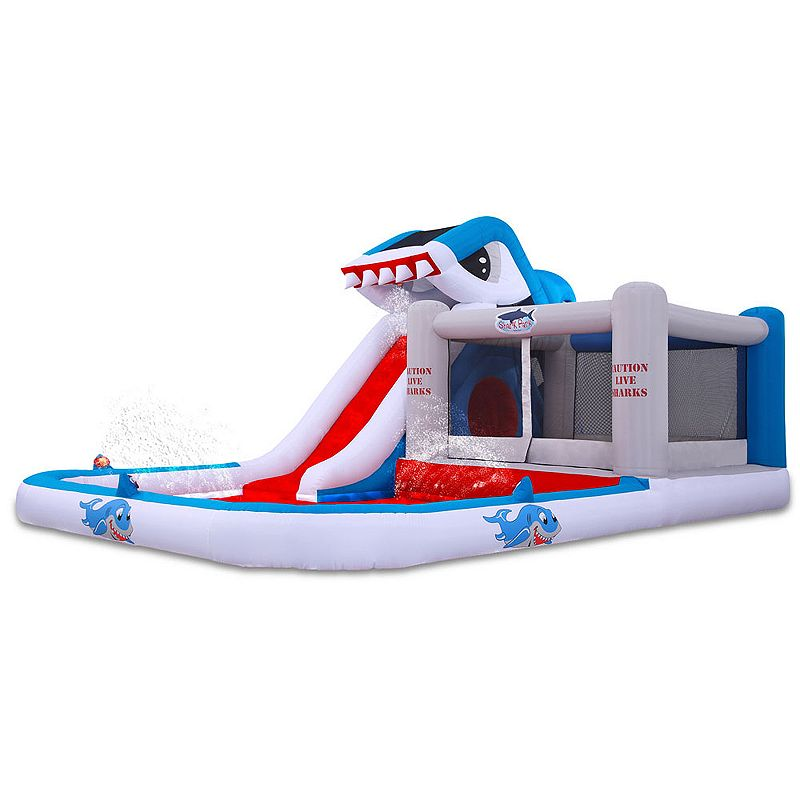 Blast Zone Shark Park Inflatable Water Slide and Bounce House, Multicolor