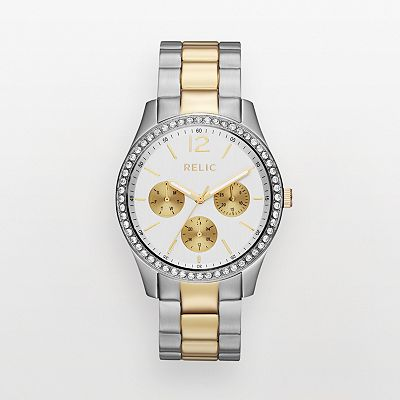 Relic Gia Two Tone Stainless Steel Crystal Watch - ZR15674 - Women