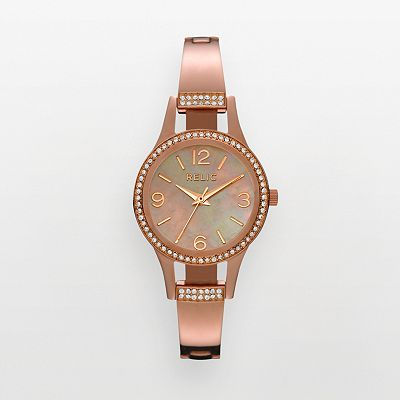 Relic Rose Gold Tone Stainless Steel Crystal and Mother-of-Pearl Watch - ZR34163 - Women