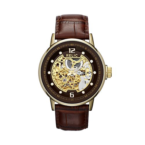 Relic by fossil men 39 s automatic leather skeleton watch for Watches kohls