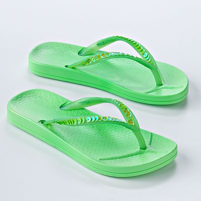 Neon Sequin Jelly Flip-Flops - Girls