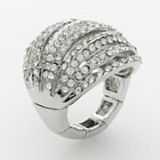 ELLE BIJOUX Silver Tone Simulated Crystal Openwork Dome Stretch Ring