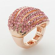ELLE BIJOUX Rose Gold Tone Simulated Crystal Openwork Dome Stretch Ring