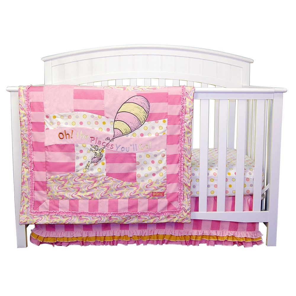 Dr. Seuss Oh The Places You'll Go! Pink 3-pc. Crib Bedding Set by Trend Lab