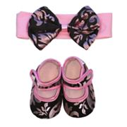 Baby Bella Maya Pink Champagne Floral Booties and Headband Set - Baby
