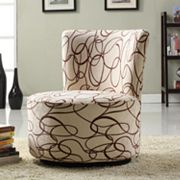 HomeVance Swirled Circles Swivel Accent Chair