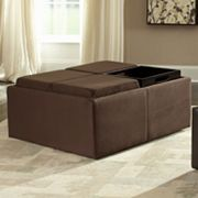 HomeVance Casual Microfiber Storage Tray Ottoman