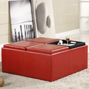 HomeVance Casual Storage Tray Ottoman